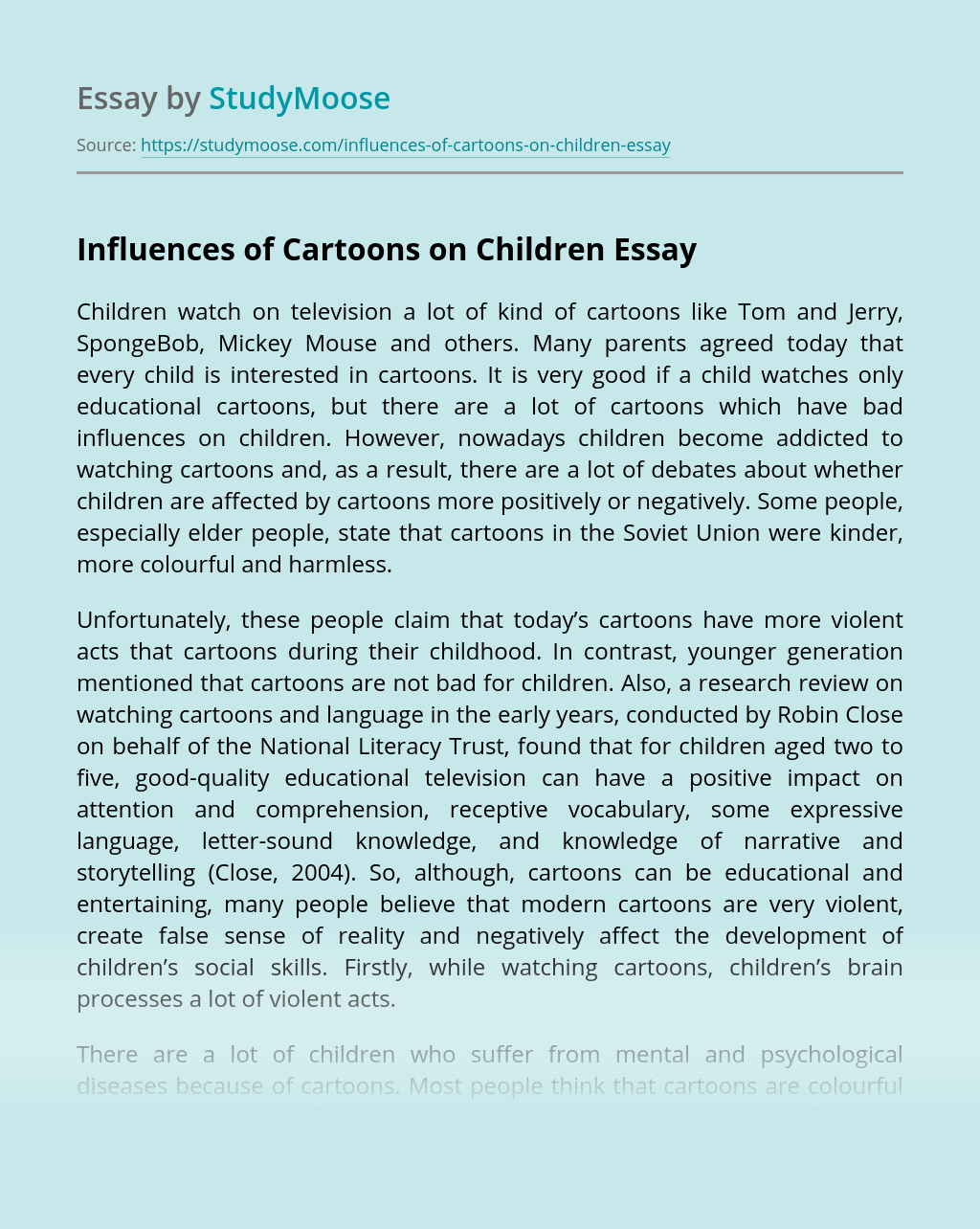 Influences of Cartoons on Children