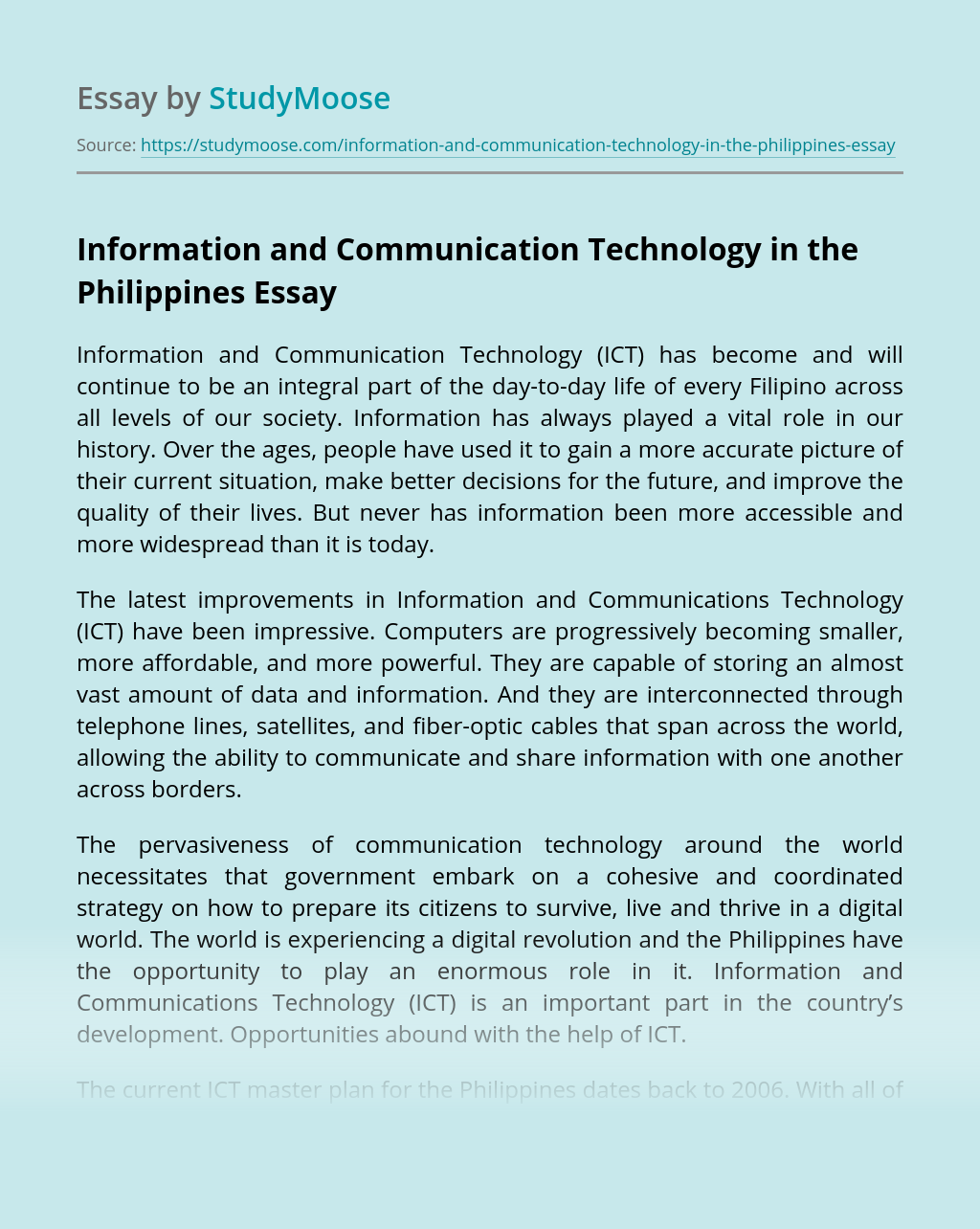 Information and Communication Technology in the Philippines