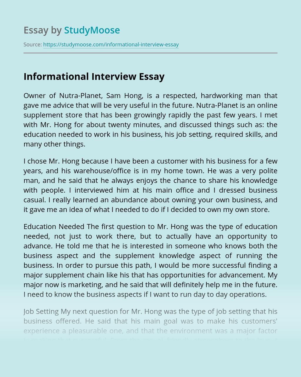 Informational Interview