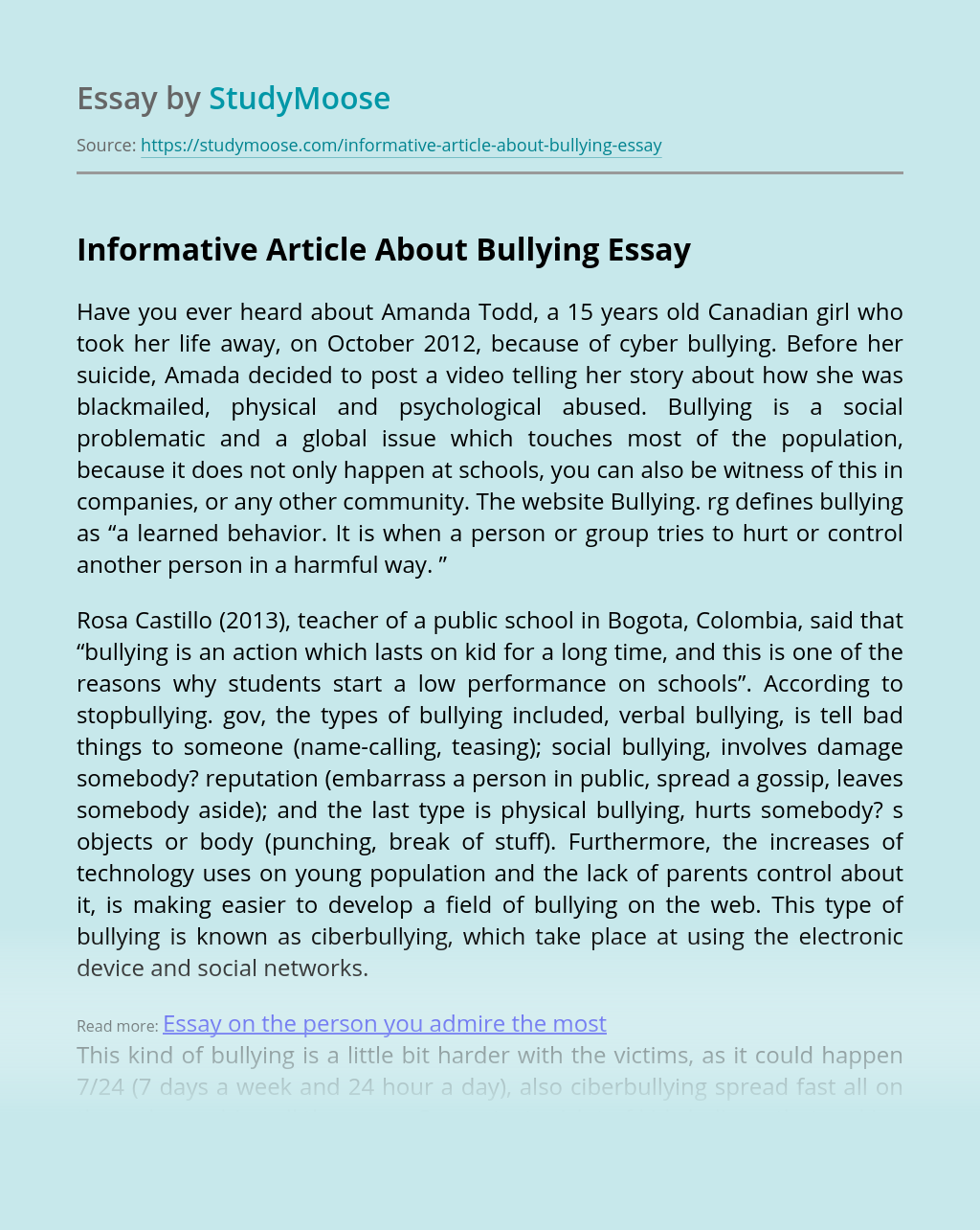Informative Article About Bullying