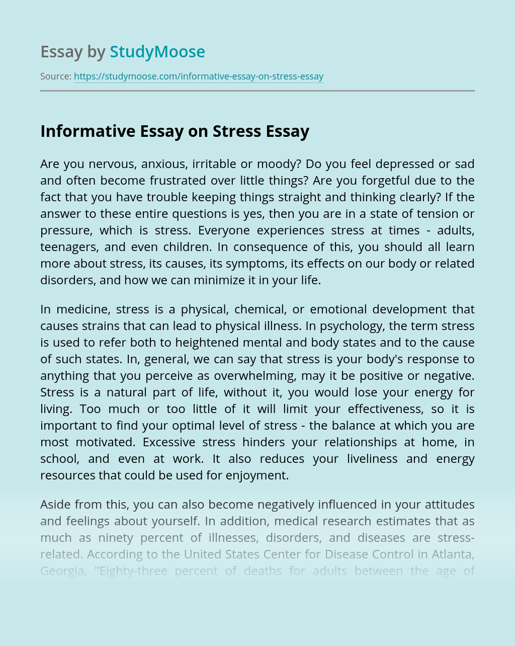Informative Essay on Stress