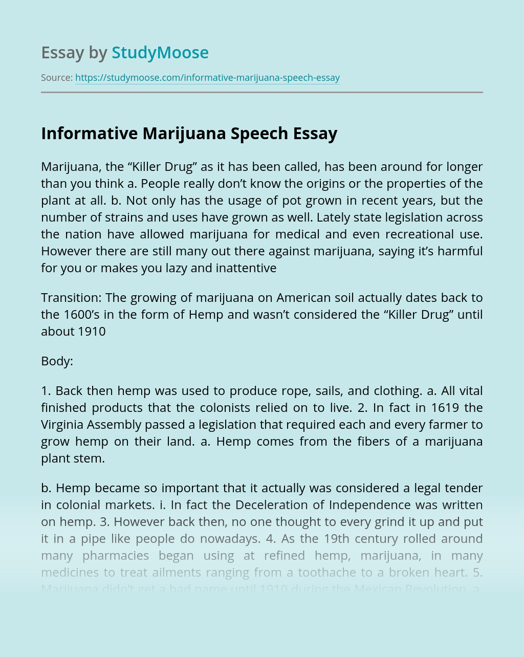 Informative Marijuana Speech
