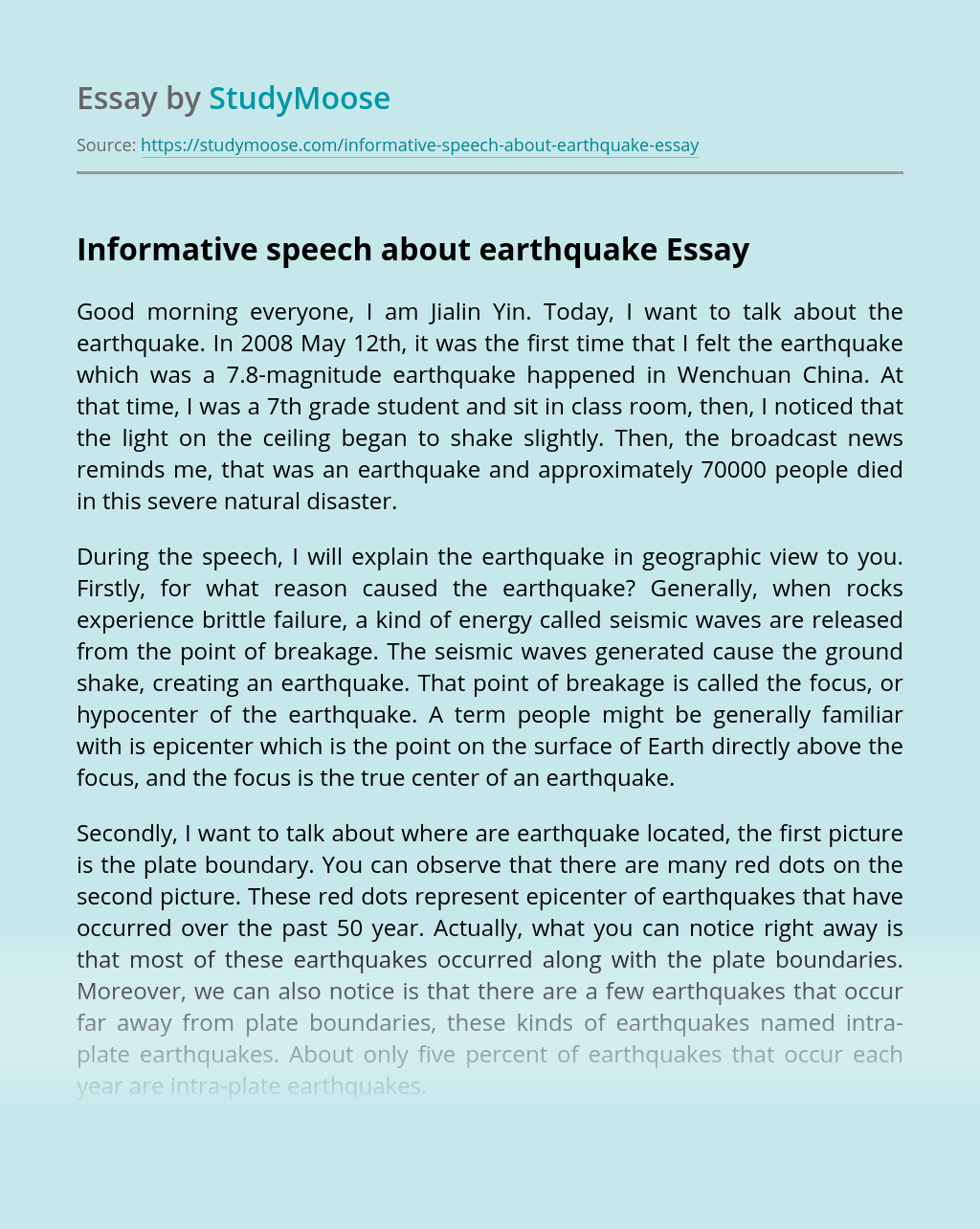 Informative speech about earthquake