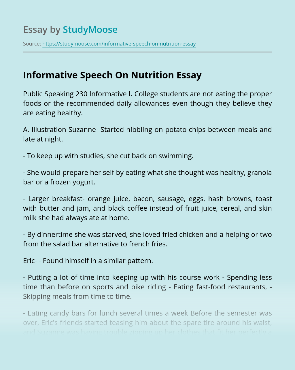 Informative Speech On Nutrition
