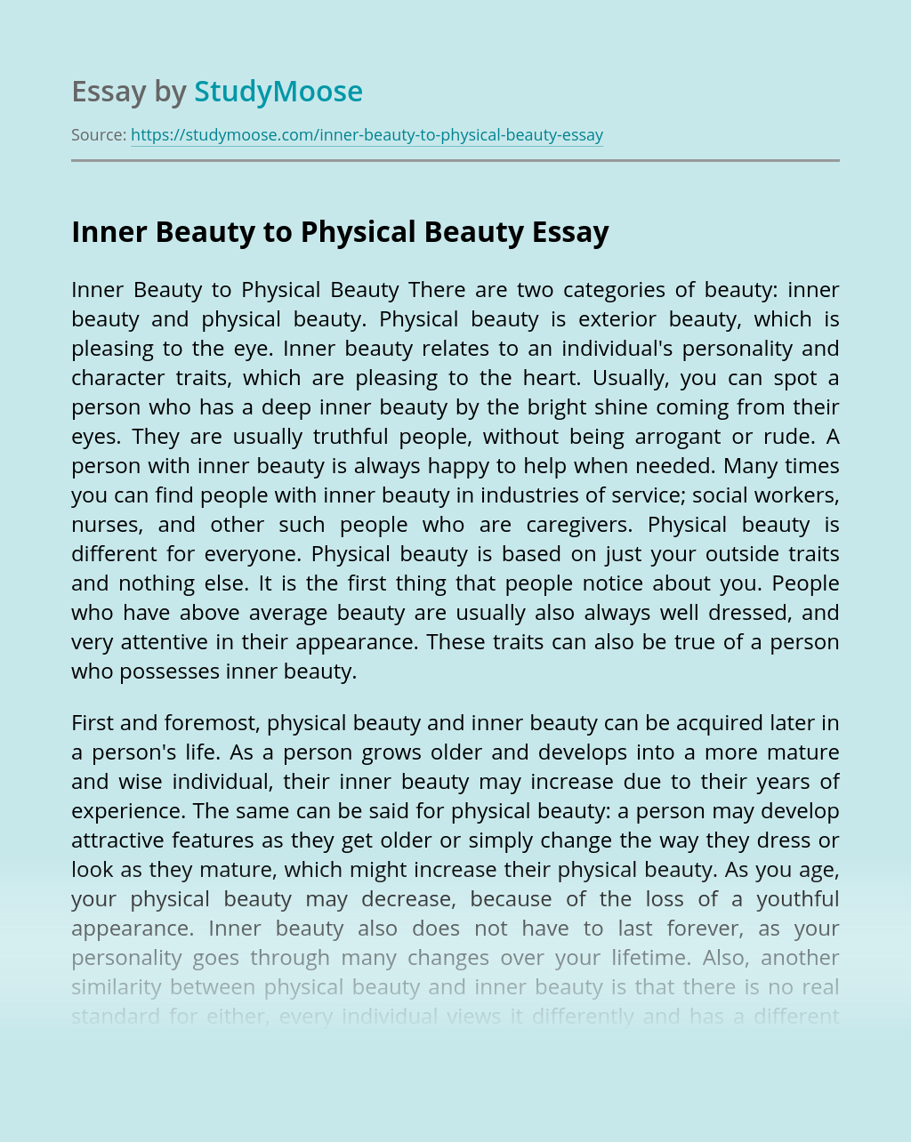 Inner Beauty to Physical Beauty
