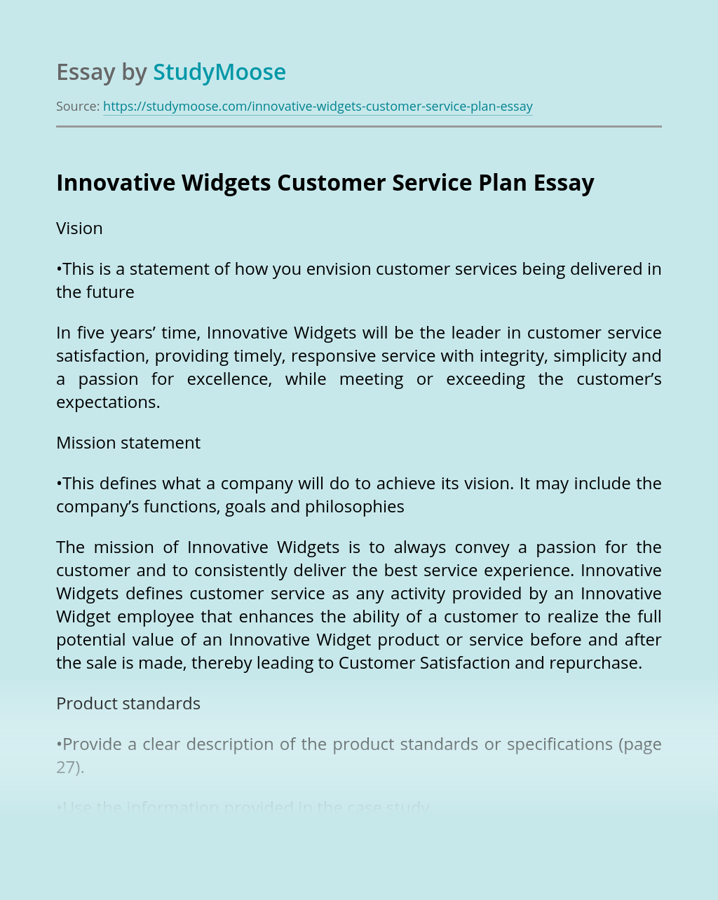 Innovative Widgets Customer Service Plan