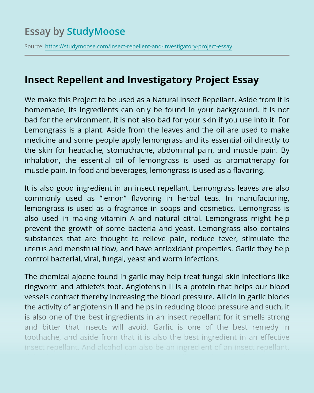 Insect Repellent and Investigatory Project