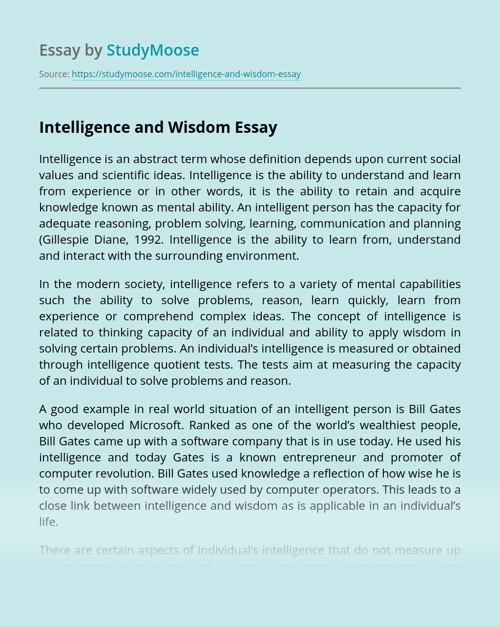 Intelligence and Wisdom