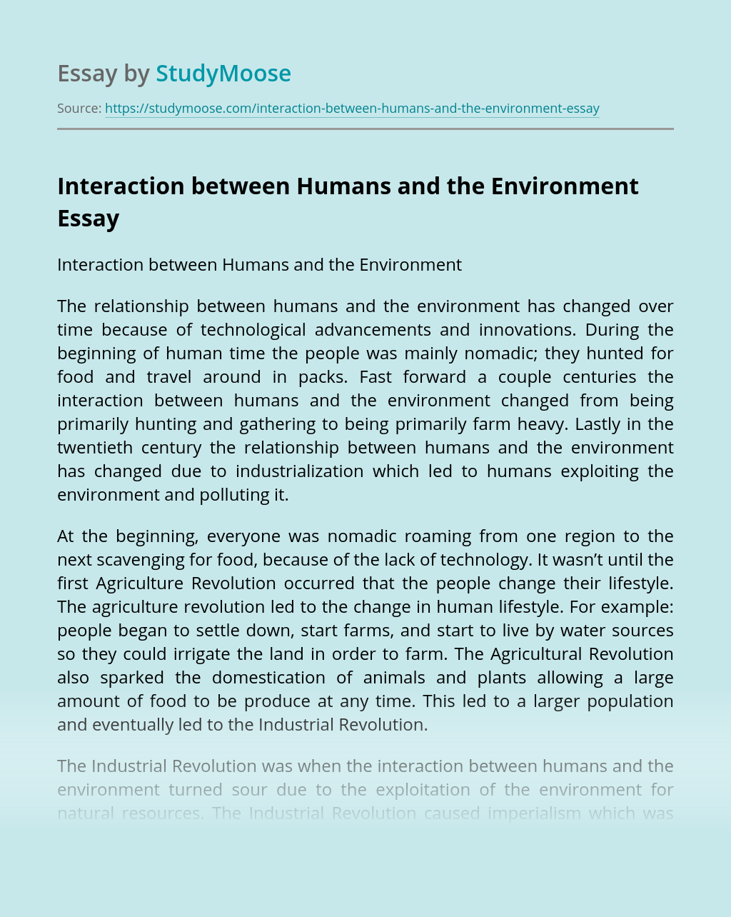 Interaction between Humans and the Environment
