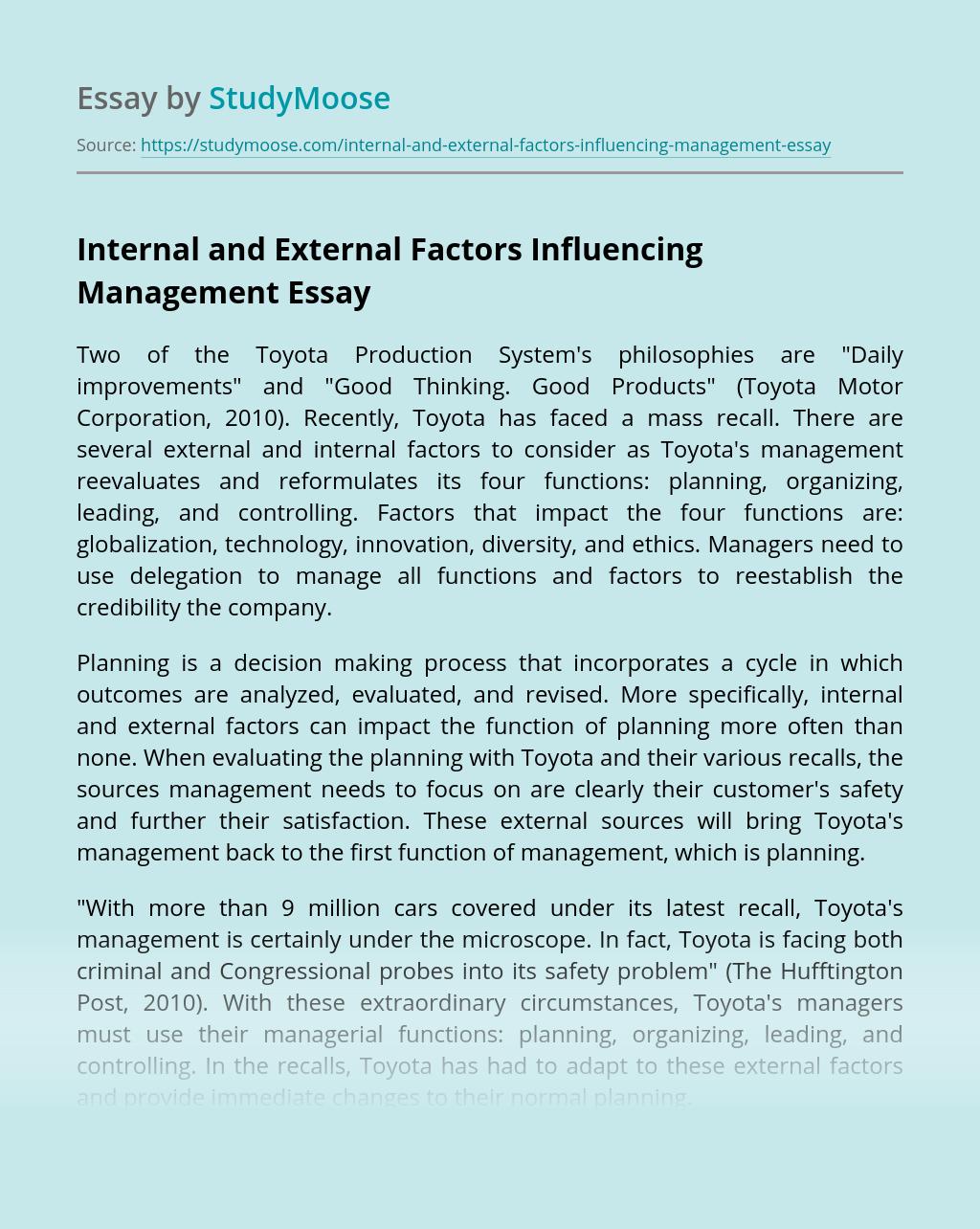 Internal and External Factors Influencing Management