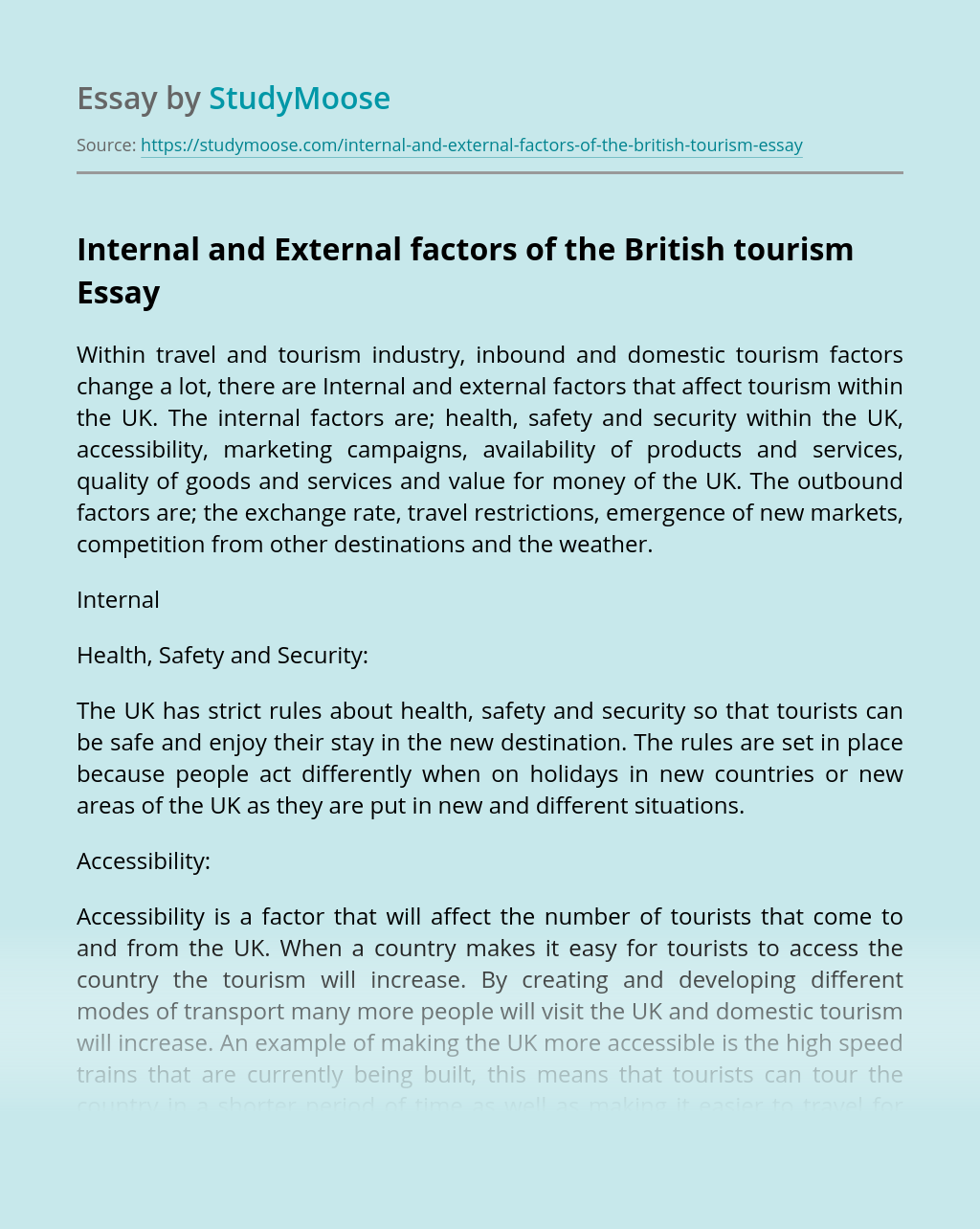 Internal and External factors of the British tourism
