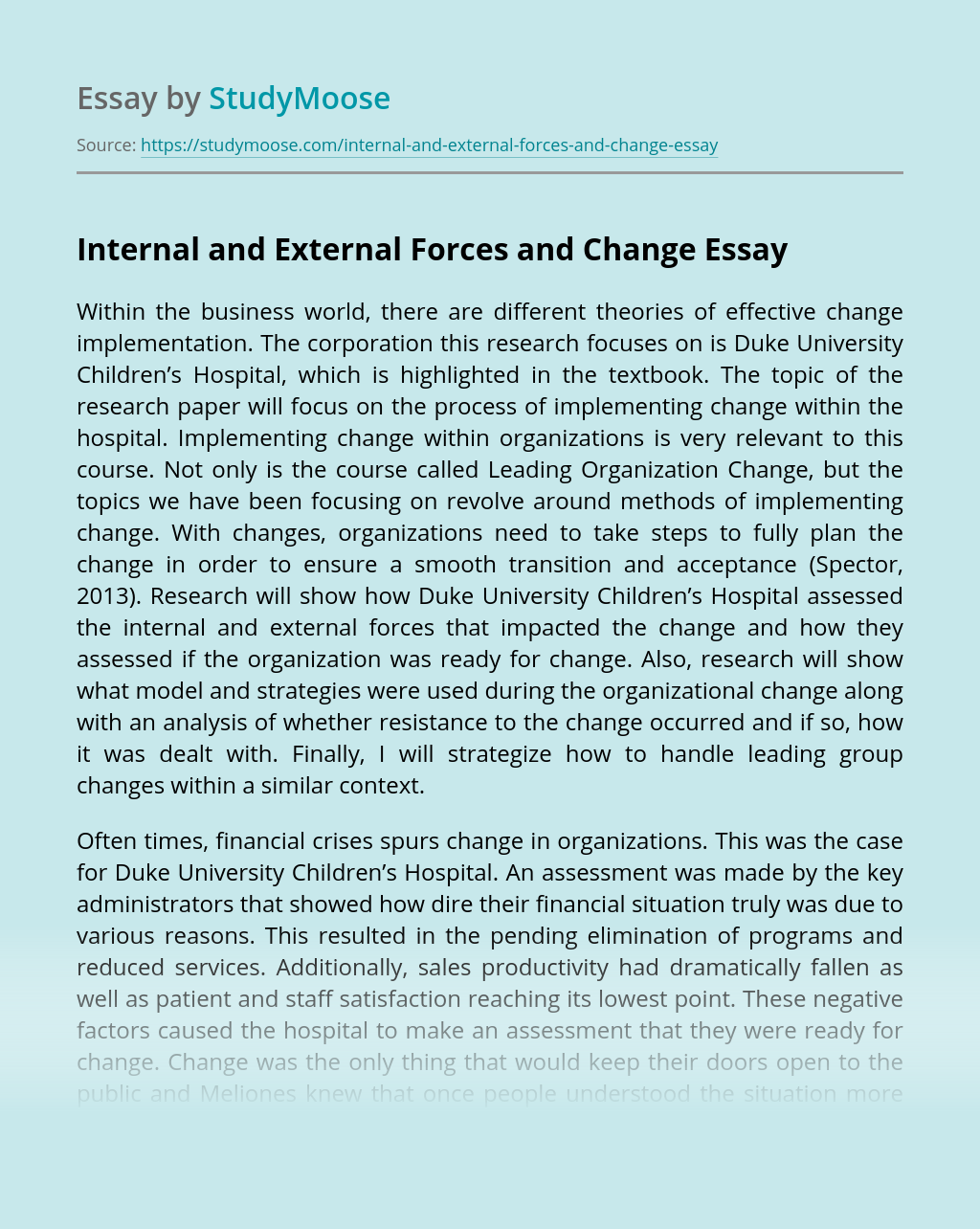 Internal and External Forces and Change