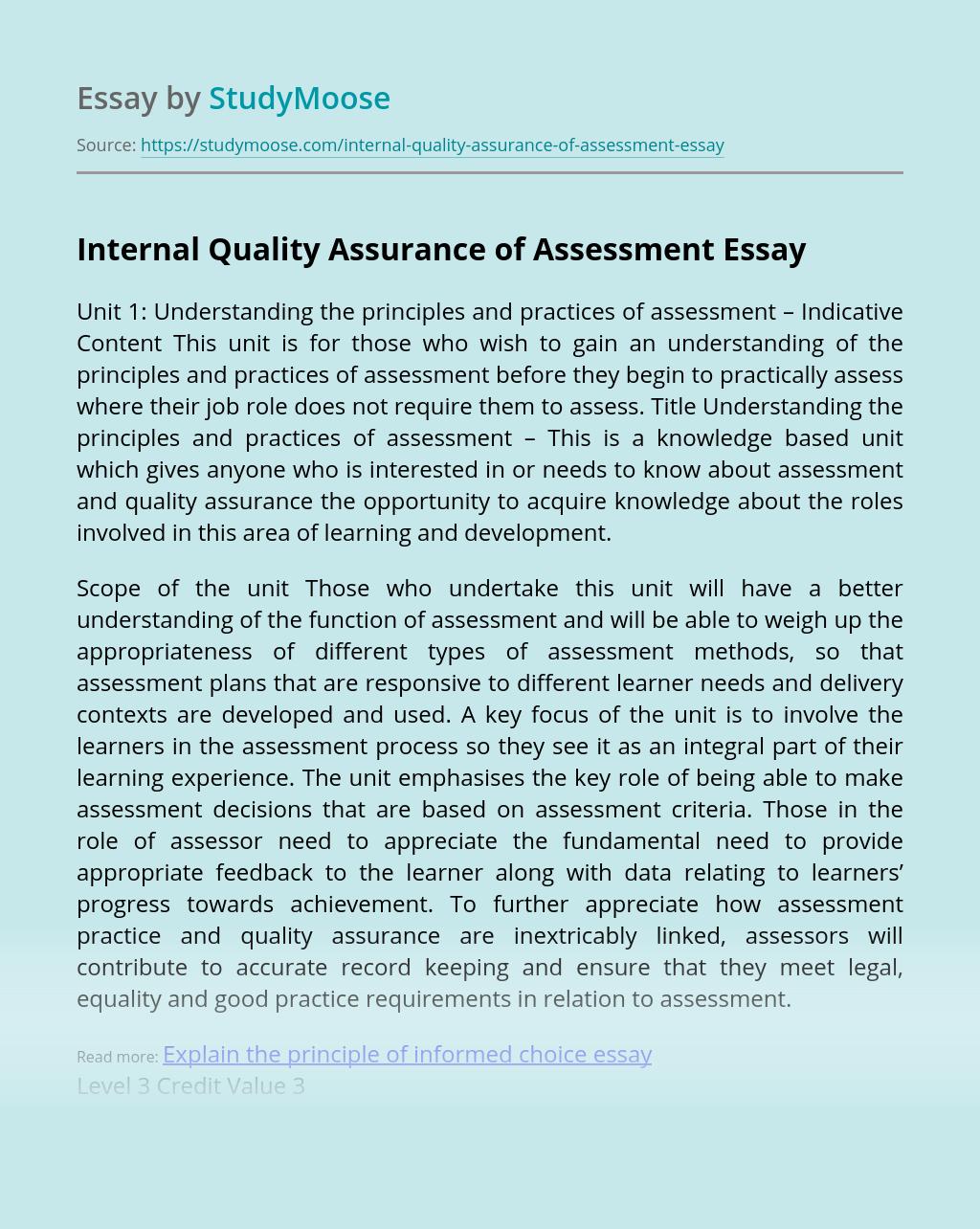 Internal Quality Assurance of Assessment