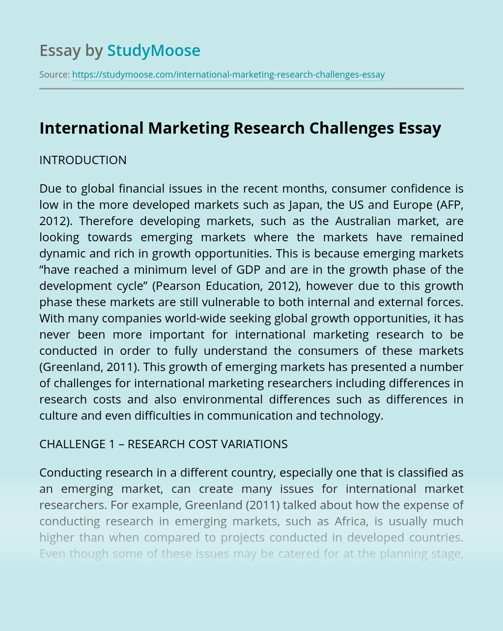 International Marketing Research Challenges