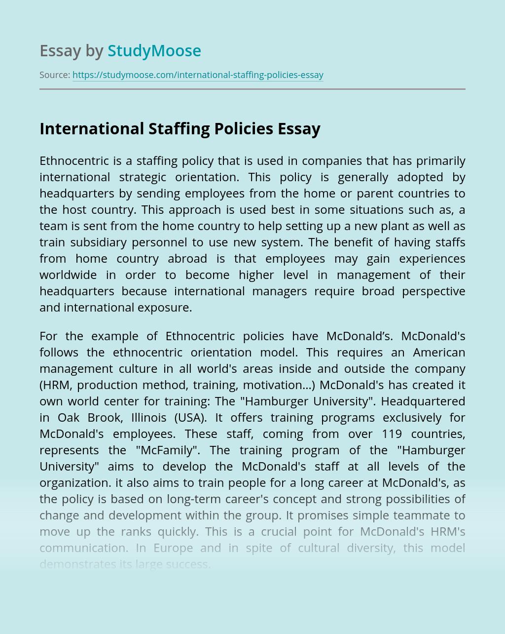 International Staffing Policies