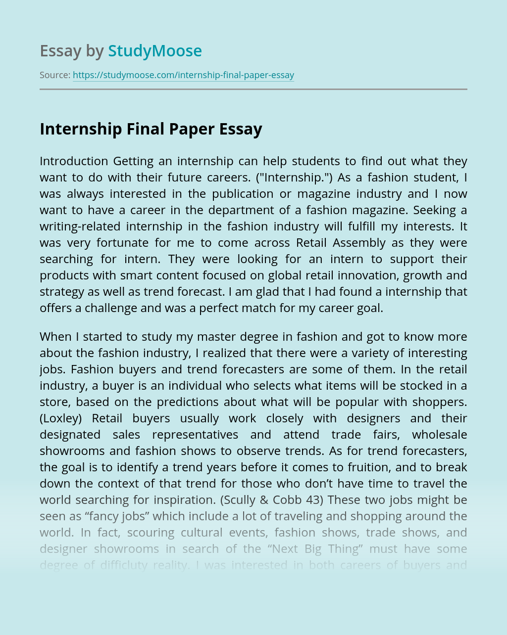 Internship Final Paper