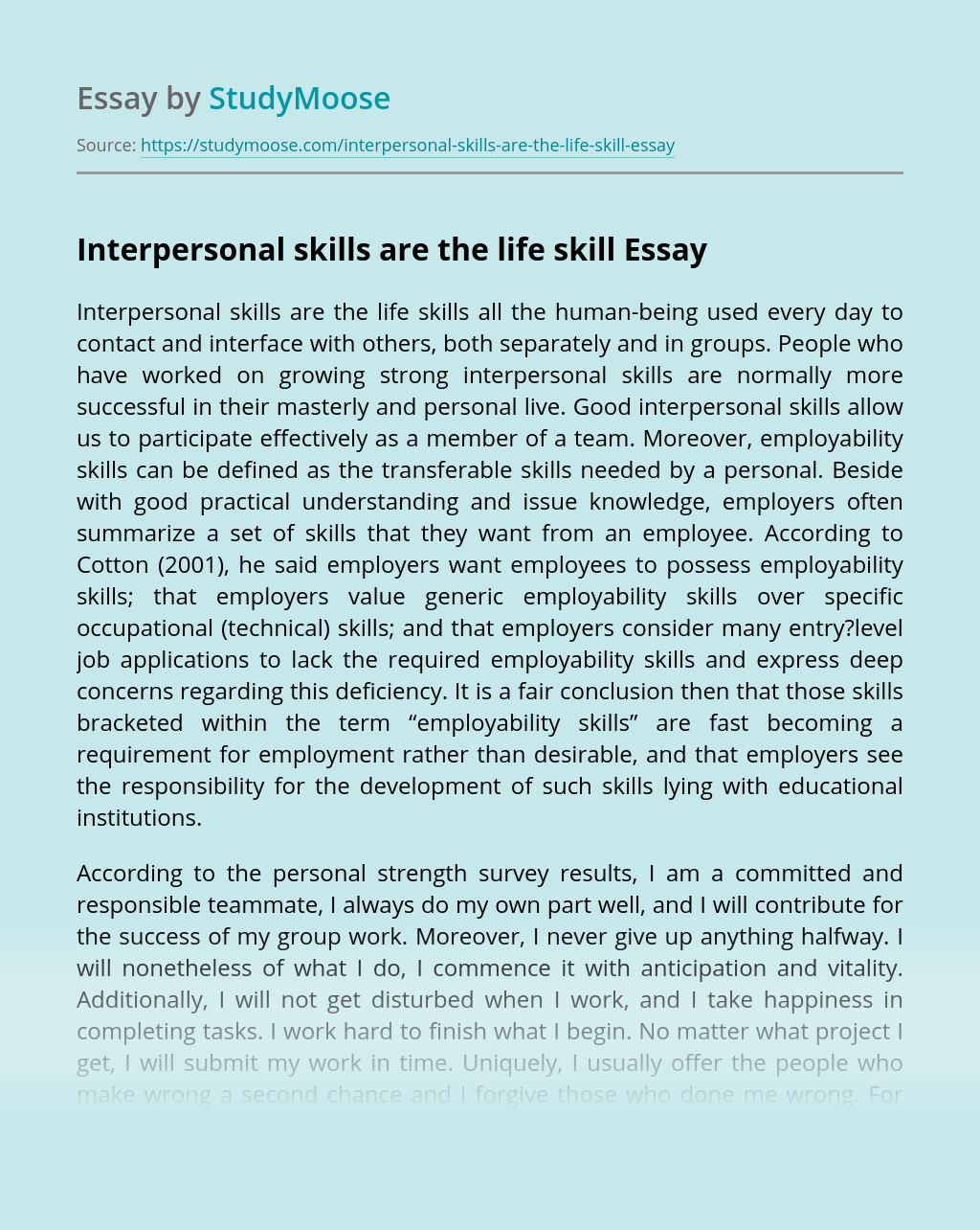 Interpersonal skills are the life skill