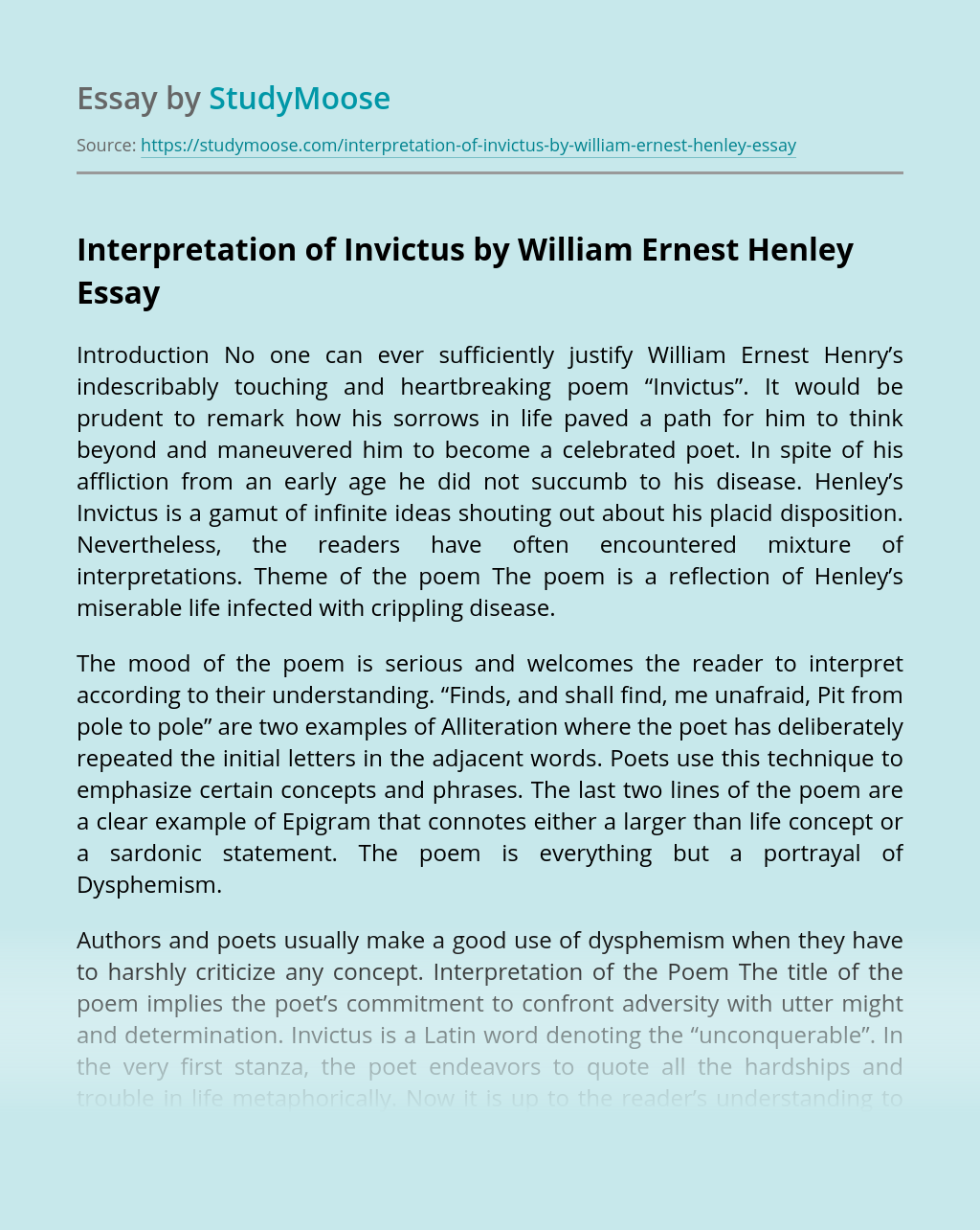 Interpretation of Invictus by William Ernest Henley