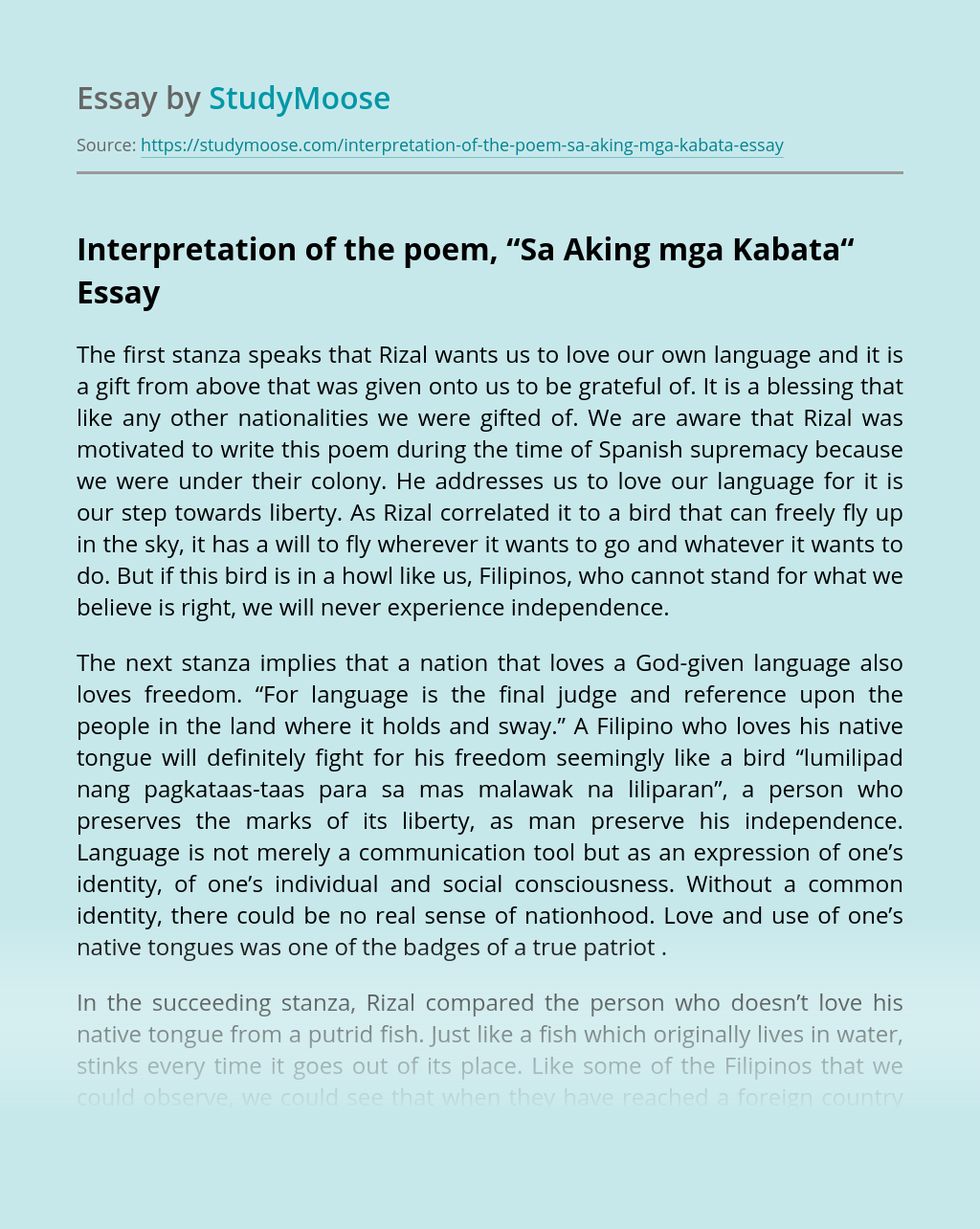 "Interpretation of the poem, ""Sa Aking mga Kabata"""