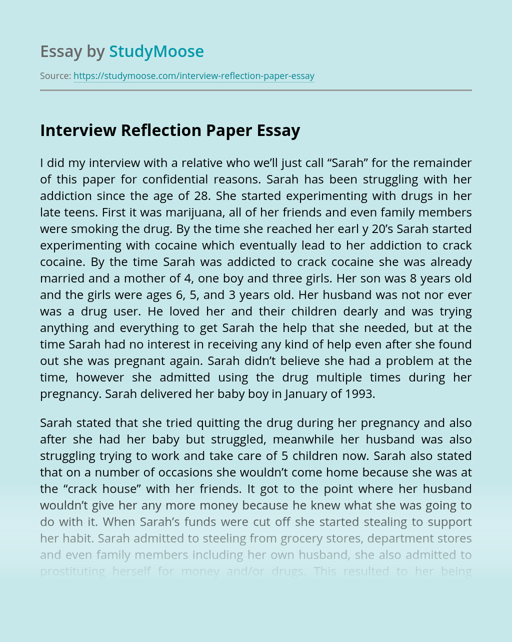Interview Reflection Paper