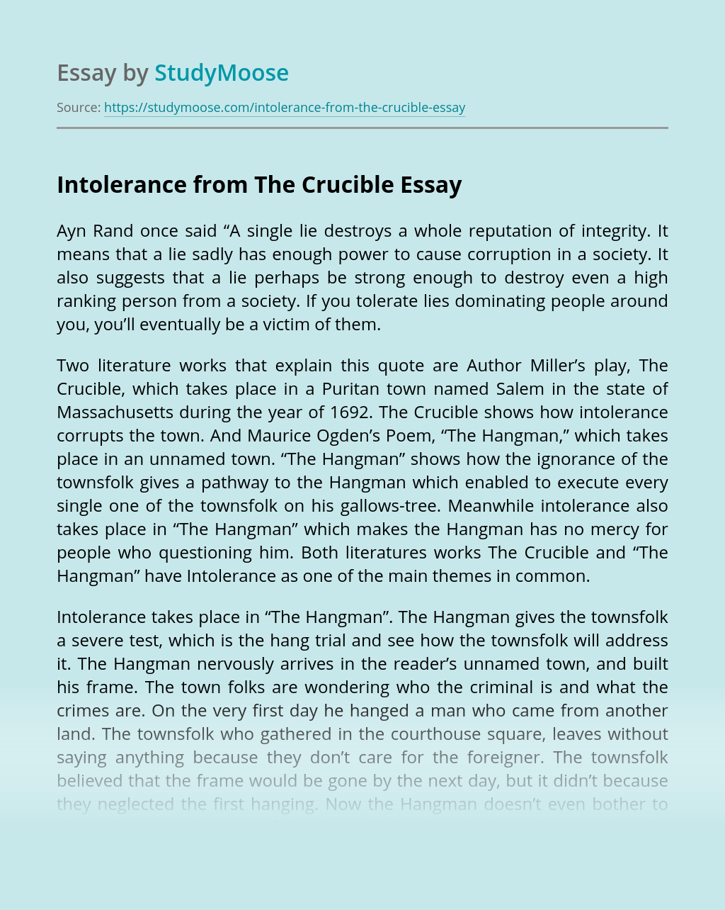 Intolerance from The Crucible