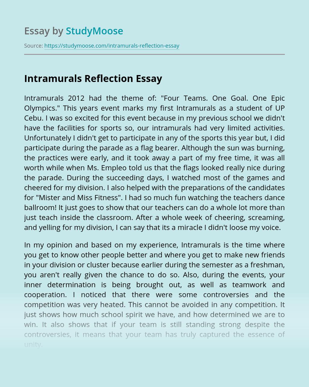Intramurals Reflection