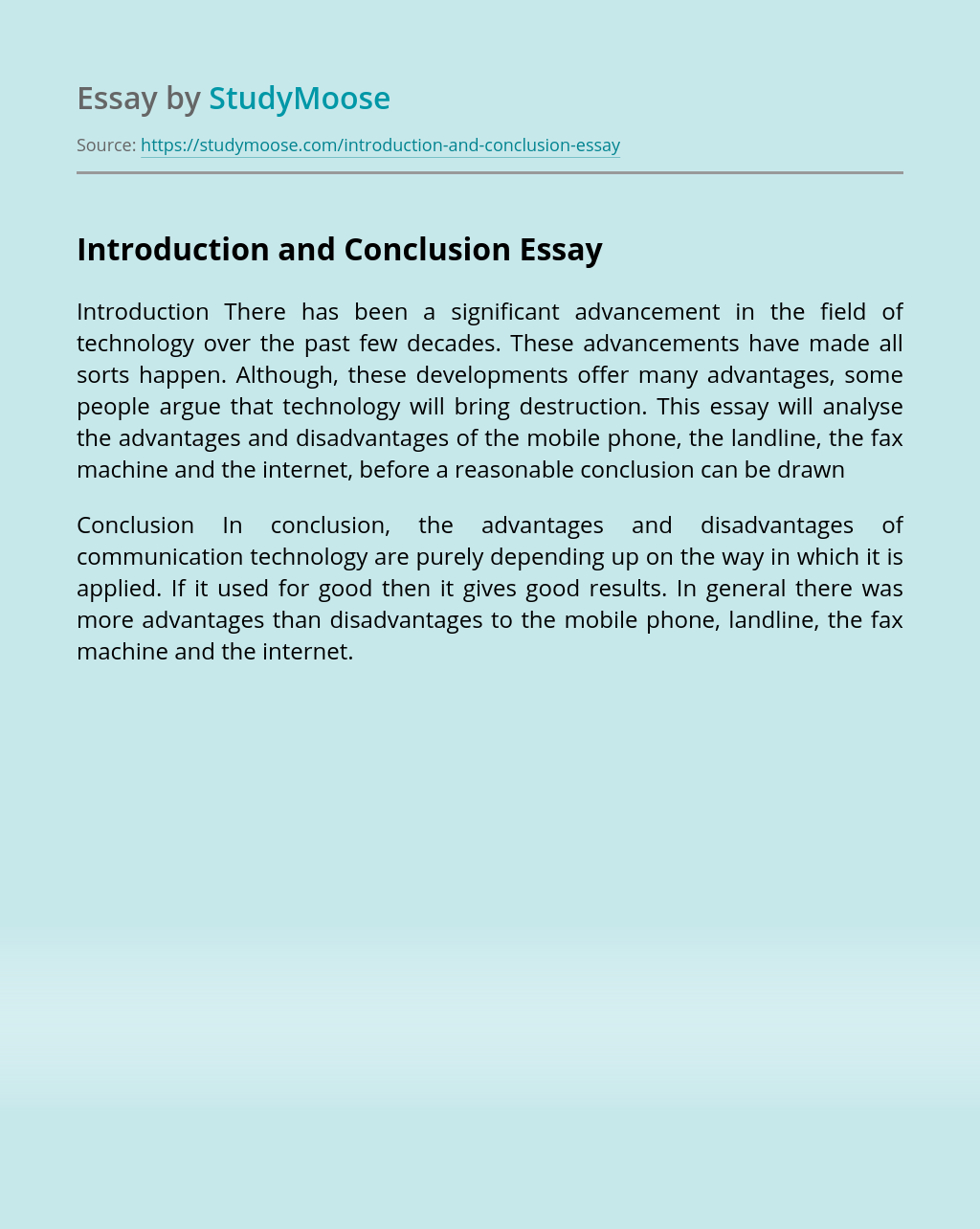 Introduction and Conclusion