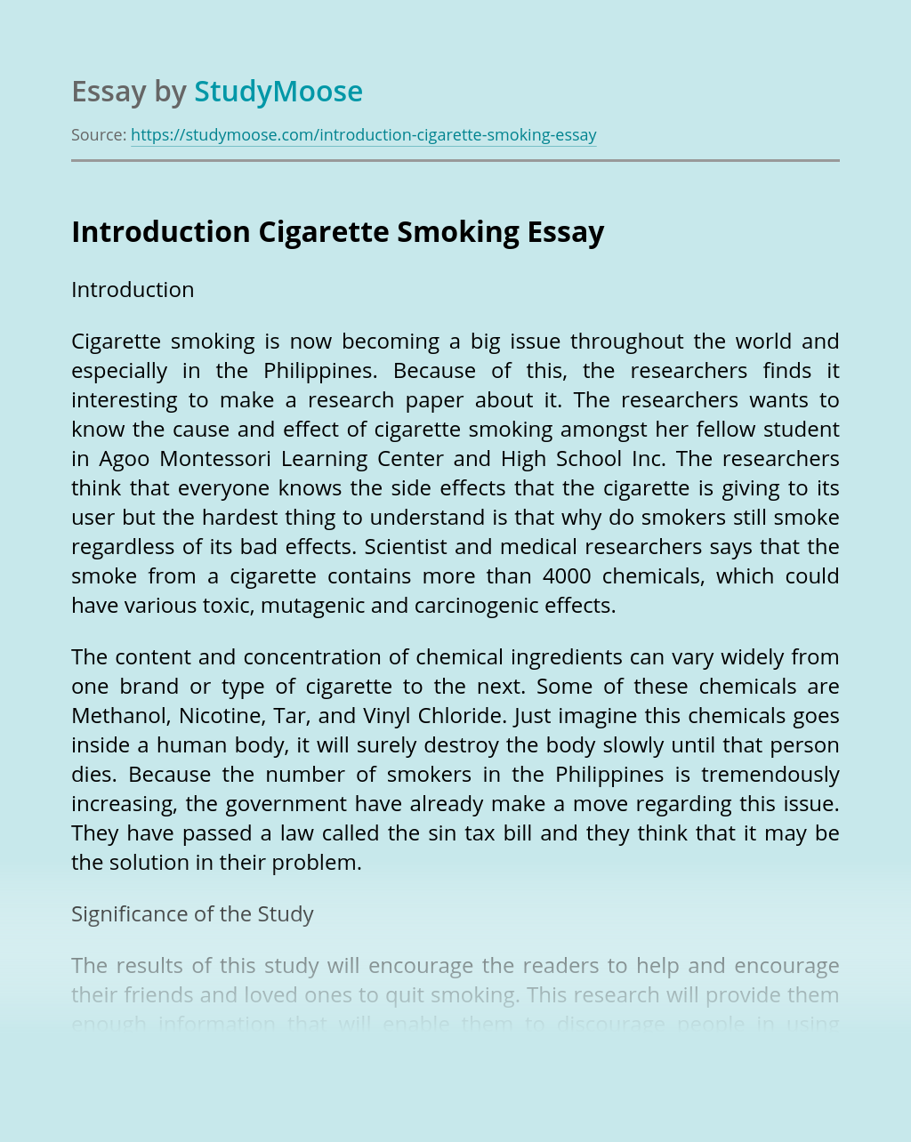 Introduction Cigarette Smoking