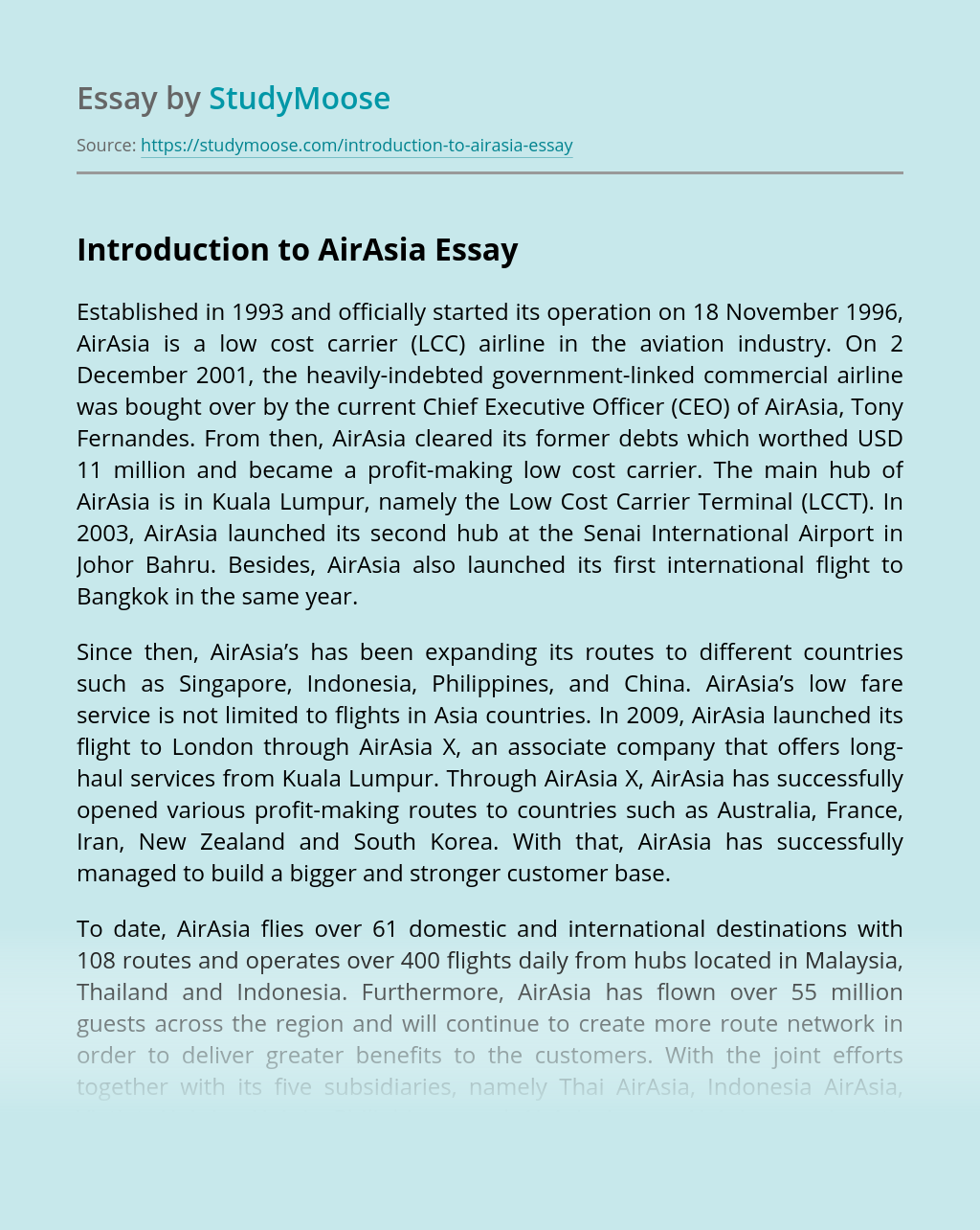 Introduction to AirAsia