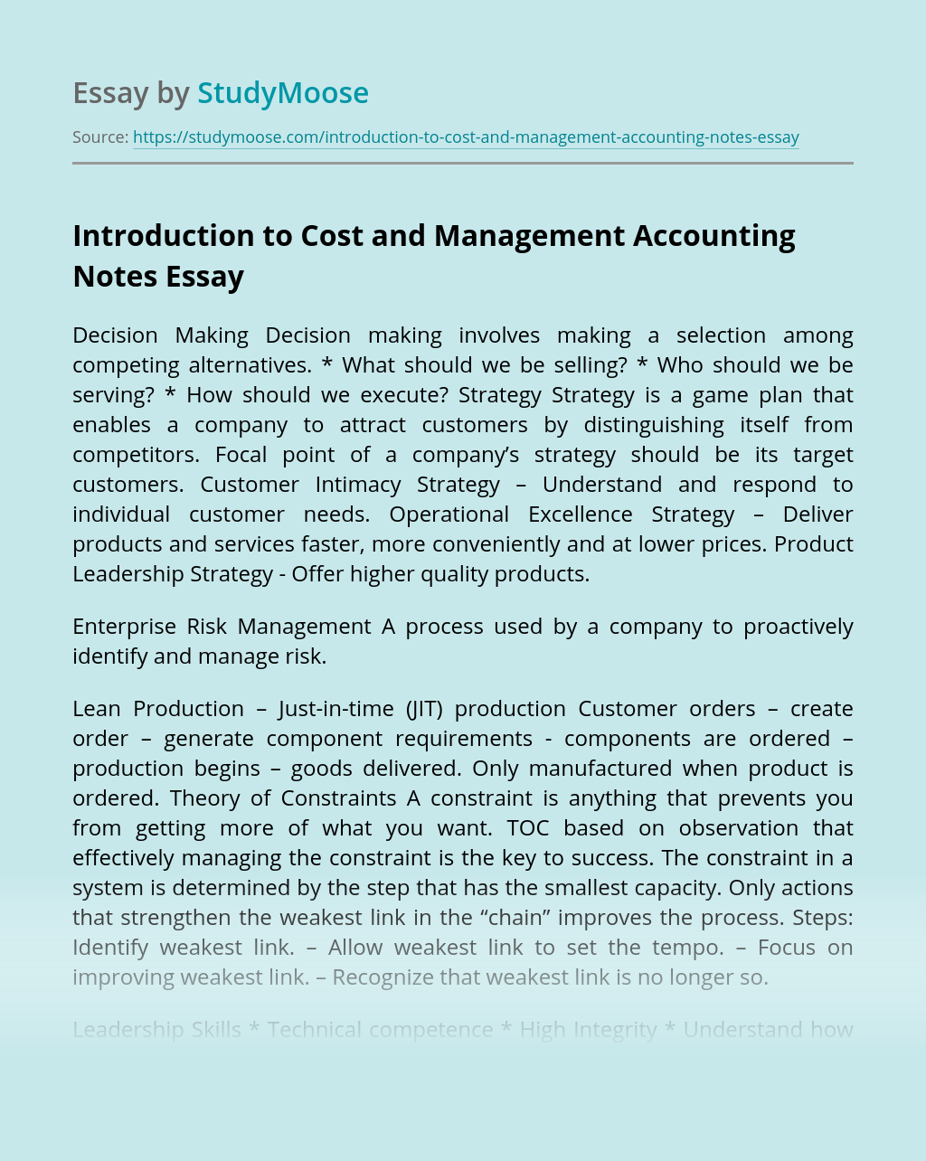 Introduction to Cost and Management Accounting Notes