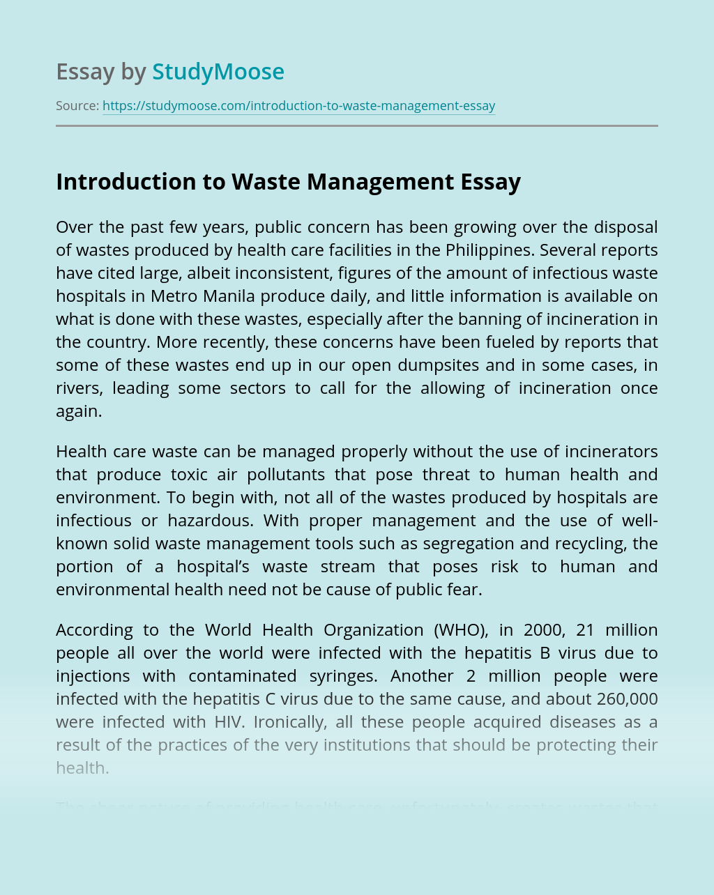 Introduction to Waste Management