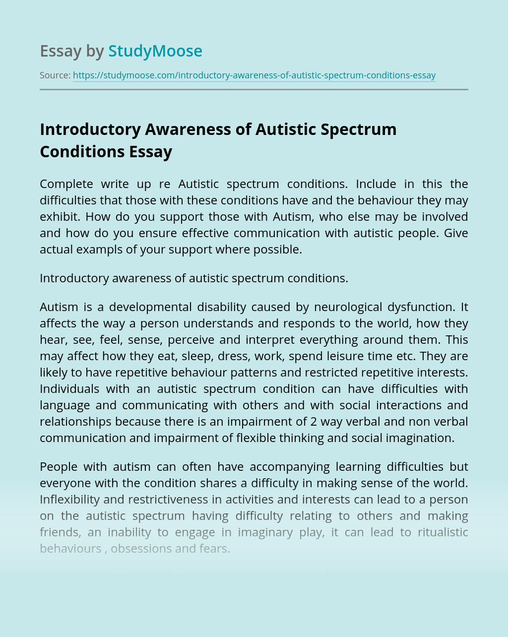 Introductory Awareness of Autistic Spectrum Conditions