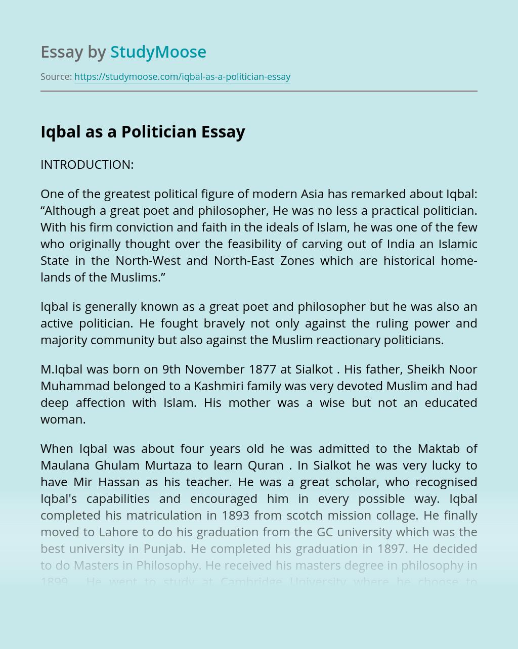 Iqbal as a Politician