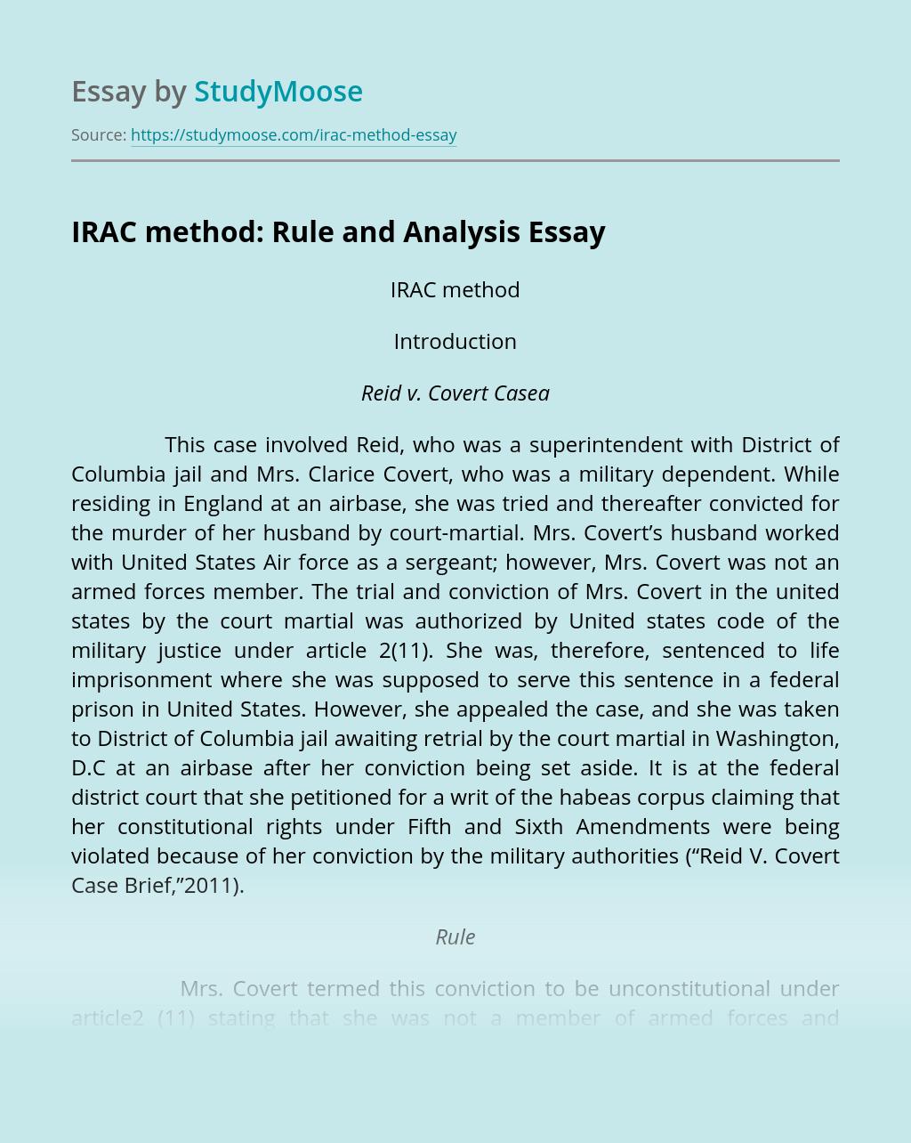 IRAC method: Rule and Analysis