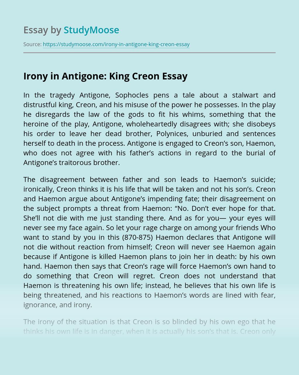 Irony in Antigone: King Creon
