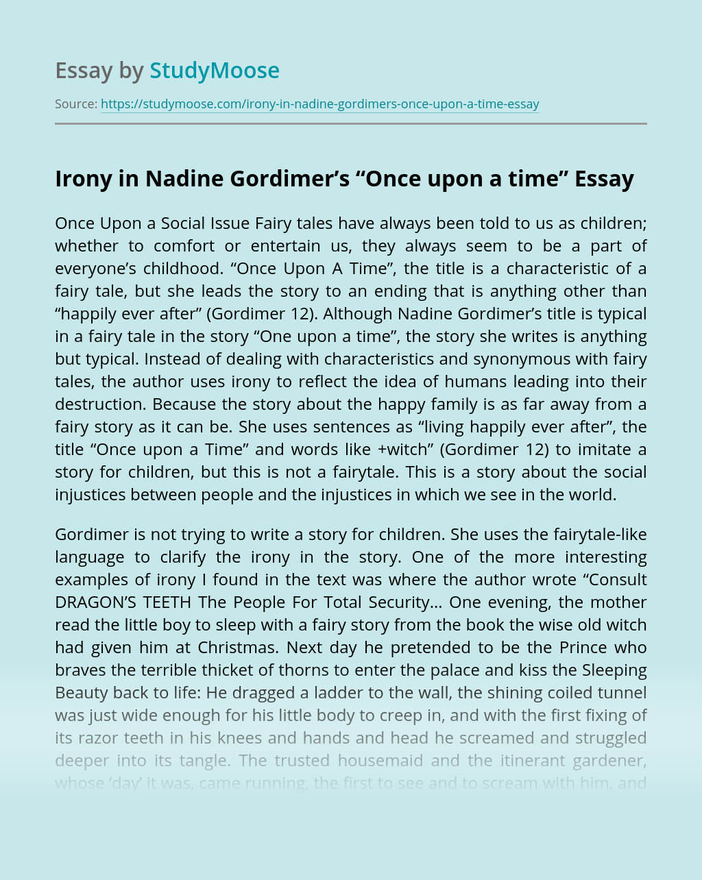 """Irony in Nadine Gordimer's """"Once upon a time"""""""