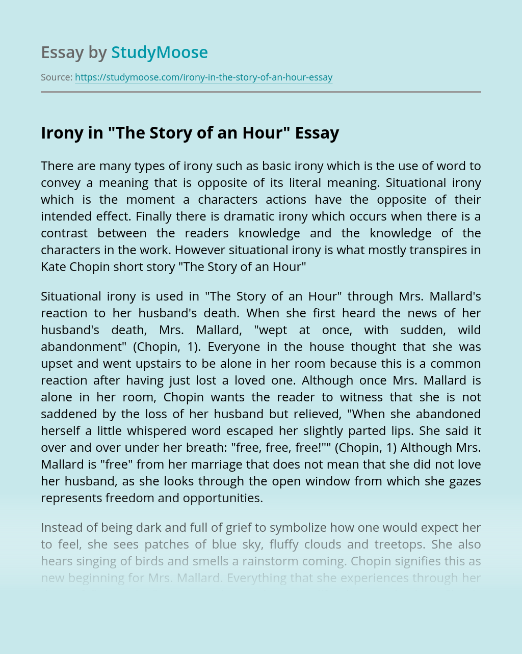 """Irony in """"The Story of an Hour"""""""