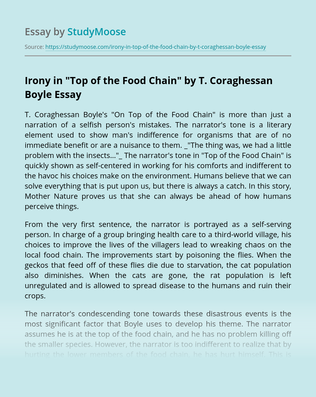 "Irony in ""Top of the Food Chain"" by T. Coraghessan Boyle"