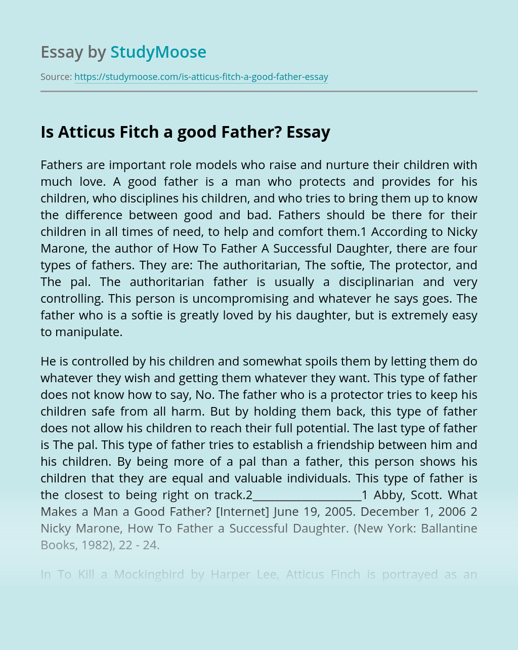 Is Atticus Fitch a good Father
