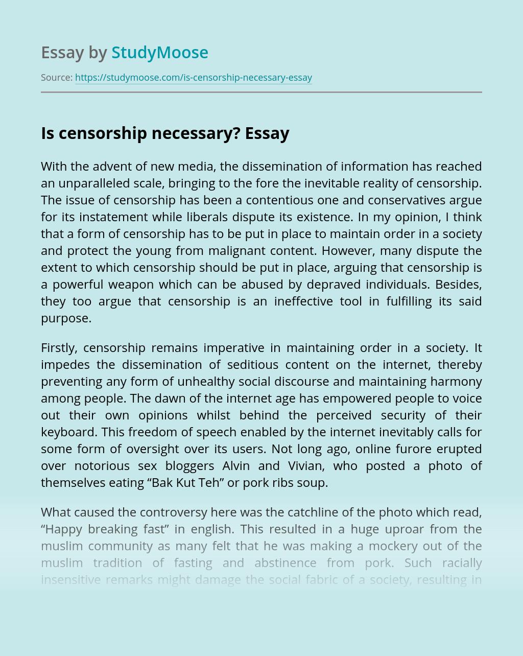 censorship blogging essay