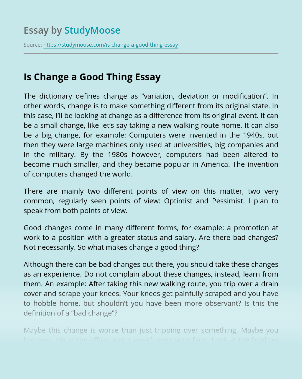 Is Change a Good Thing