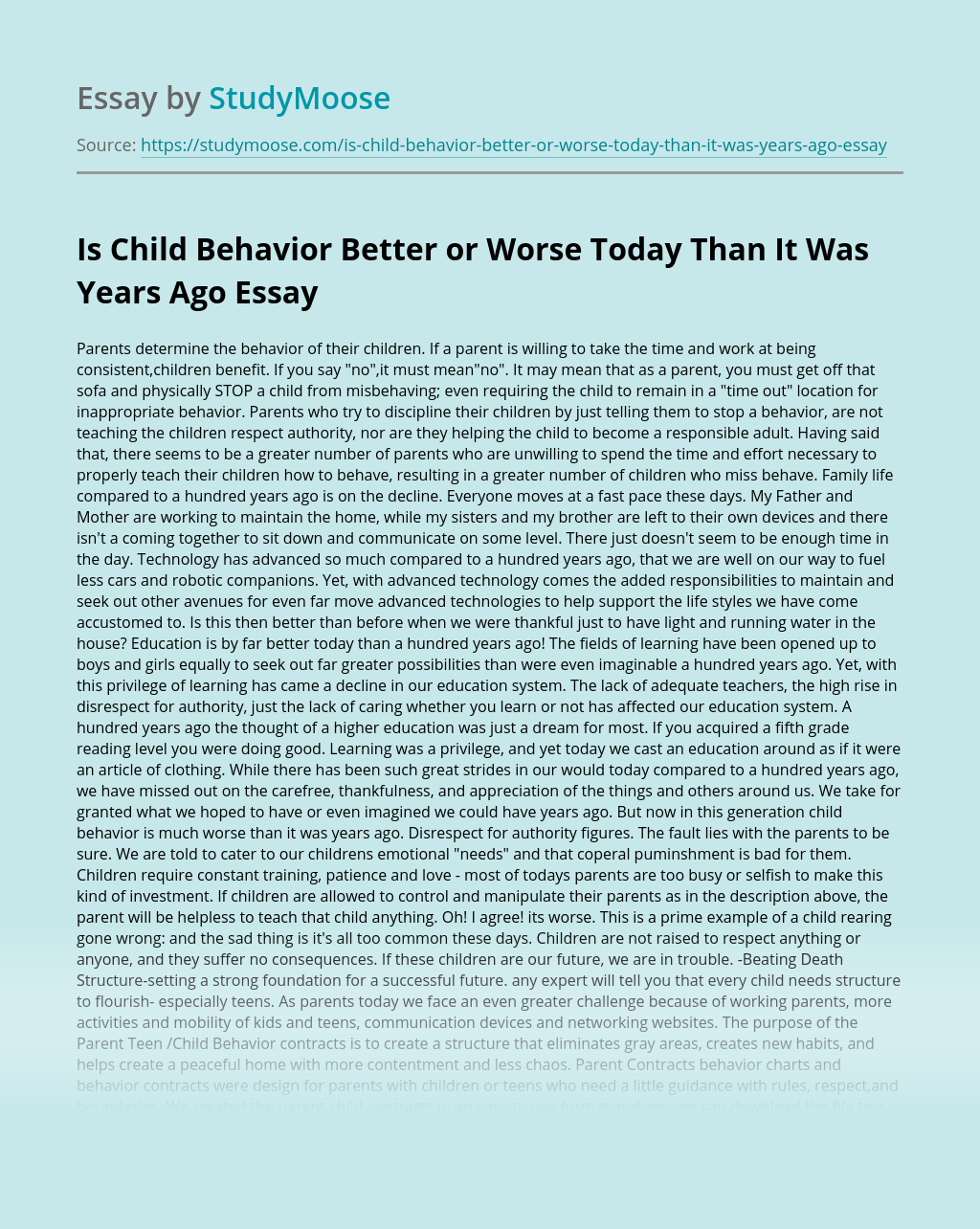 Is Child Behavior Better or Worse Today Than It Was Years Ago