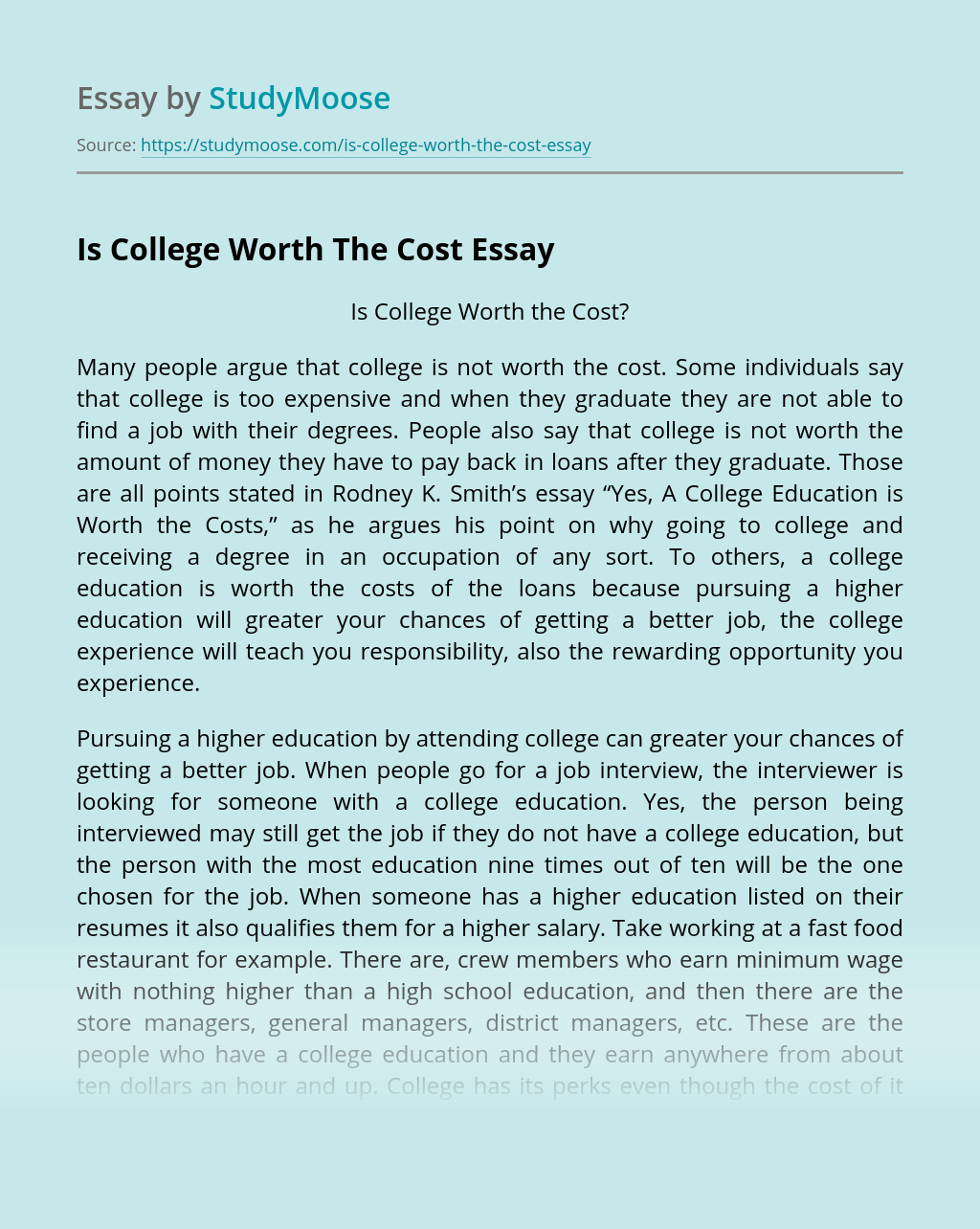 Is College Worth The Cost