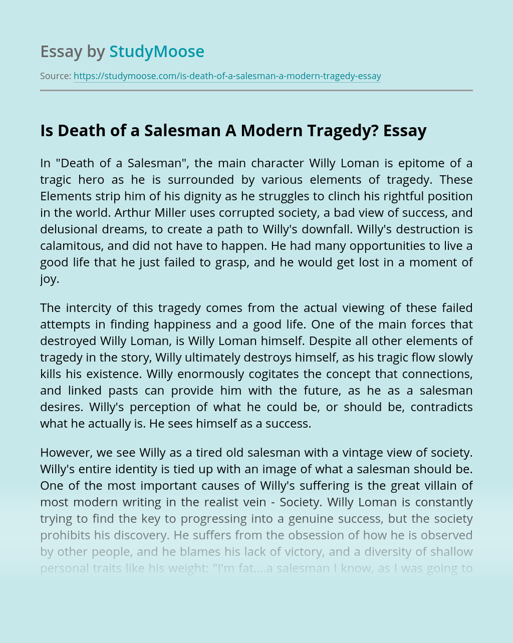 Is Death of a Salesman A Modern Tragedy?