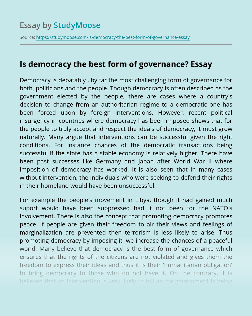 Is democracy the best form of governance?