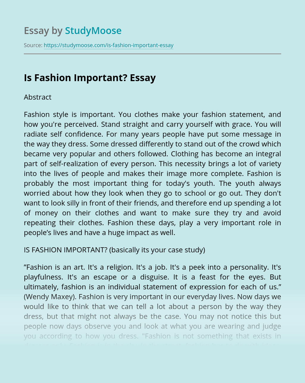 Is Fashion Important?