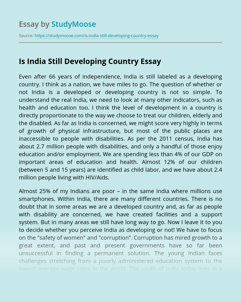 Is India Still Developing Country