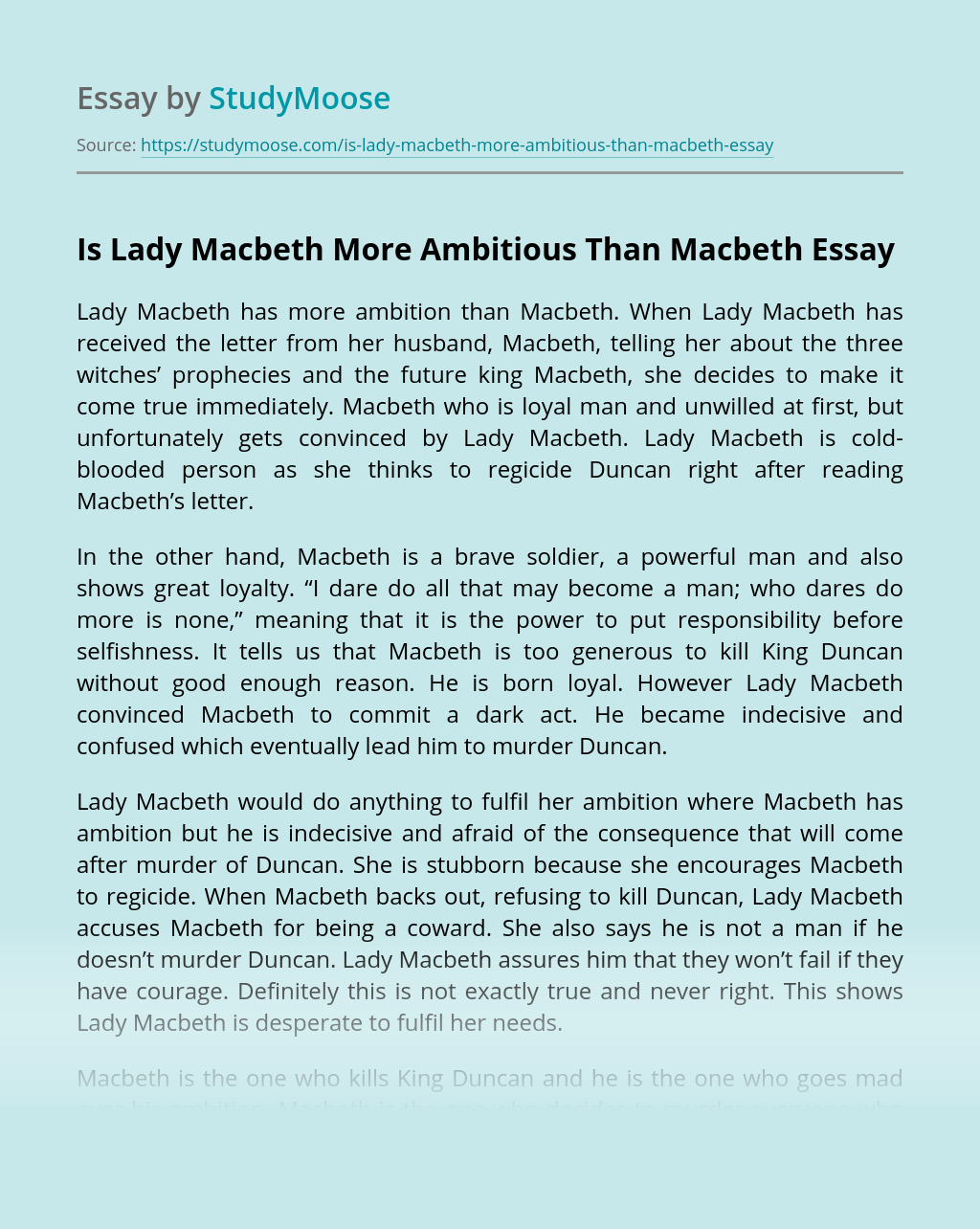 Is Lady Macbeth More Ambitious Than Macbeth