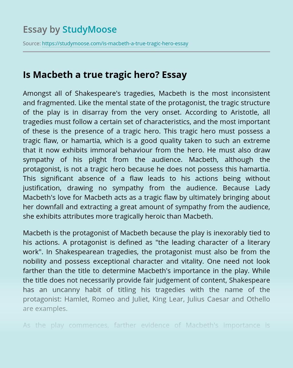 Is Macbeth a true tragic hero?