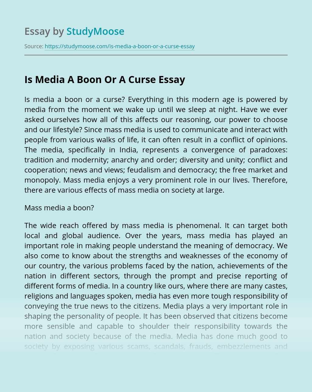 Is Media A Boon Or A Curse